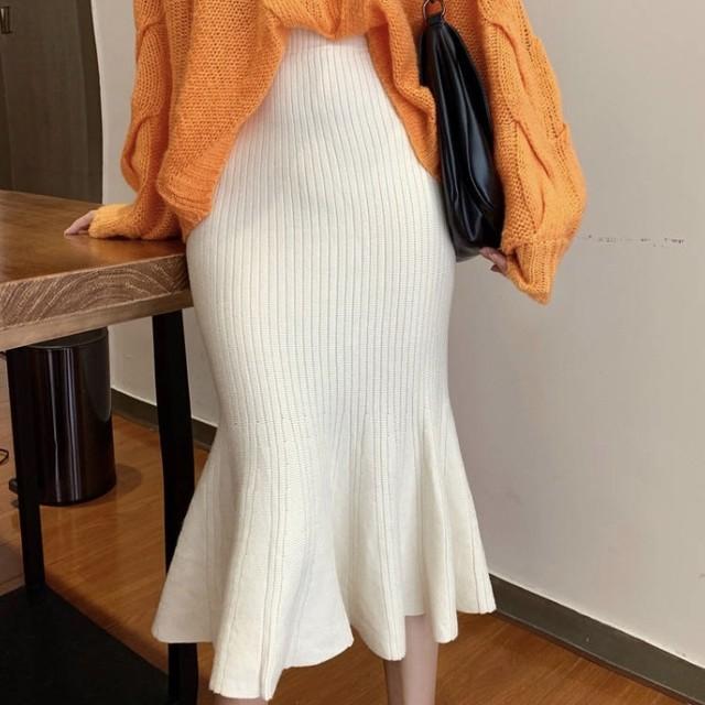 マーメイド ニット スカート 2色 B2426【1/26まで10%OFF!!】
