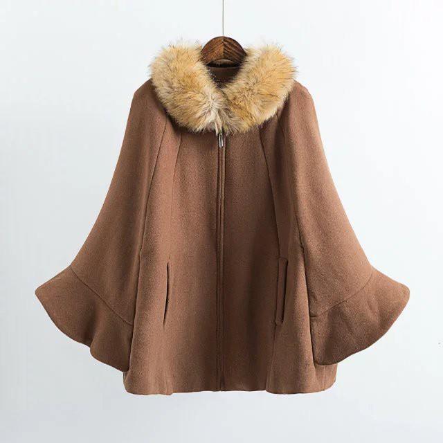 【outer】大人気ケーブフェイクファー襟レディースコート
