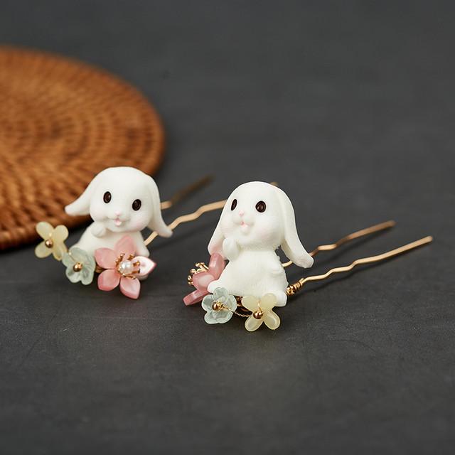 【春亦軒シリーズ】★髪飾り★ 3タイプ選択可能 アクセサリー 兎 ウサギ フリンジ 可愛い チャイナ風