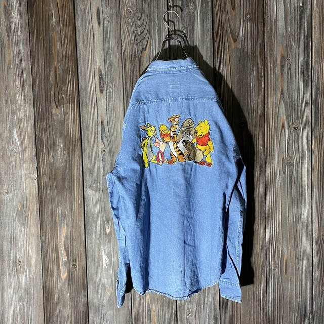 [used]back big embroidery shirt