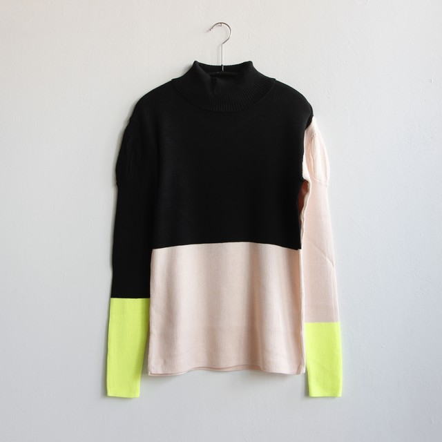 《frankygrow 2020AW》MULTI COLOR SWELL SHOULDER HIGH-NECK KNIT / black × pink × yellow / F(大人)