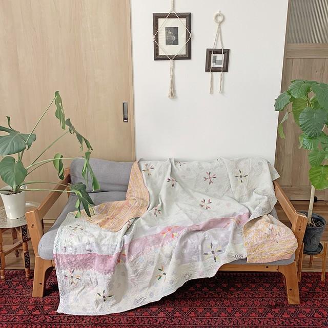 ヴィンテージ ラリーキルト カンタキルト お花の刺繍×ドット