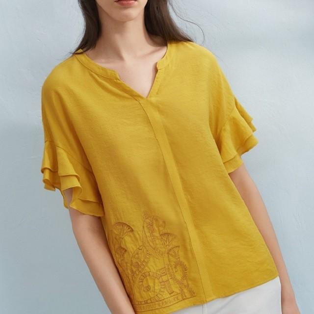 春夏の新作 トップス ブラウス 刺繍 レディースシャツ ベルスリーブ Vネック ビスコース 黄色 ベージュ フリル エレガントkmy0801
