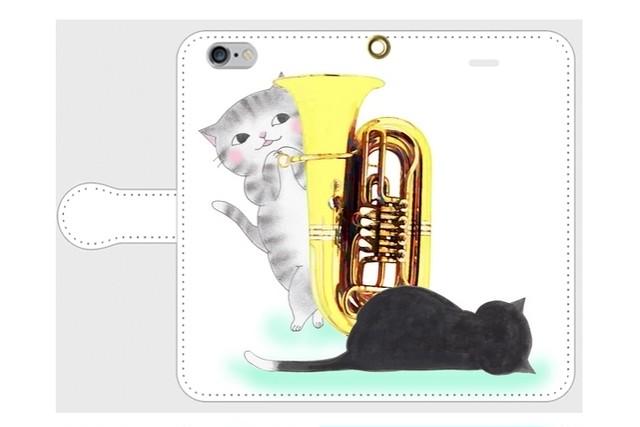 (iPhone用)チューバ猫の手帳型スマホケース(かくれんぼ)