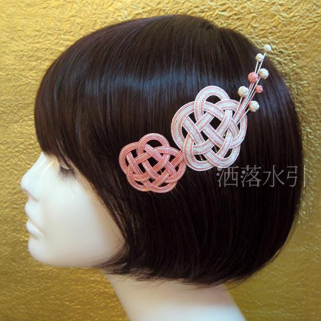【受注販売品】水引の髪飾り 梅かさね