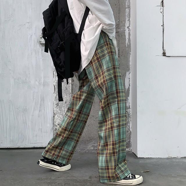 【ボトムス】大好評超人気ファッションチェック柄ハイウエストカジュアルパンツ24953695