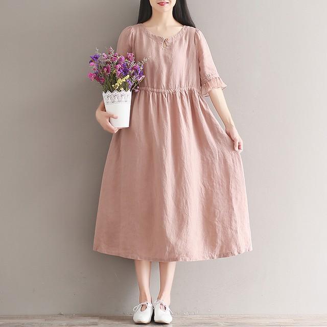 優し気なオールドピンクのふんわりワンピース マタニティ 大きいサイズ 体型カバー ミモレ丈 半袖 大人可愛い 春 夏  YFL0071