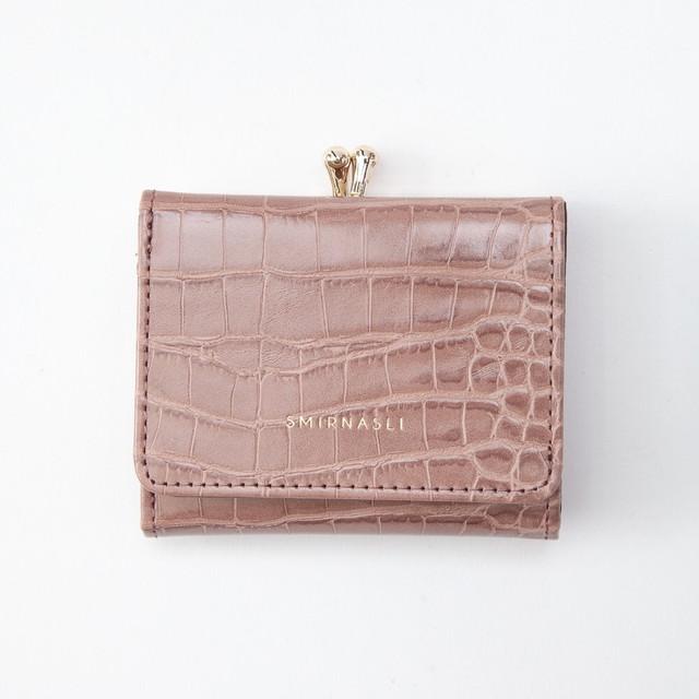 レザー調コンパクト三つ折りミニ財布 札入れ カード入れ ウォレット ブラック