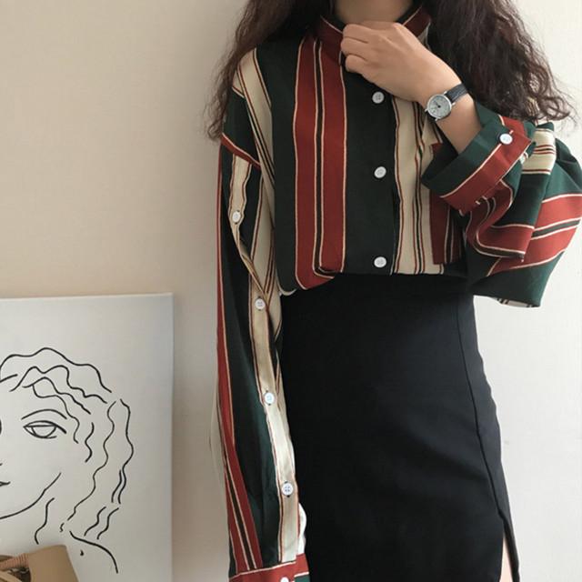 【トップス】激売れ中韓国系ストライプ柄長袖ファッションシャツ18564338