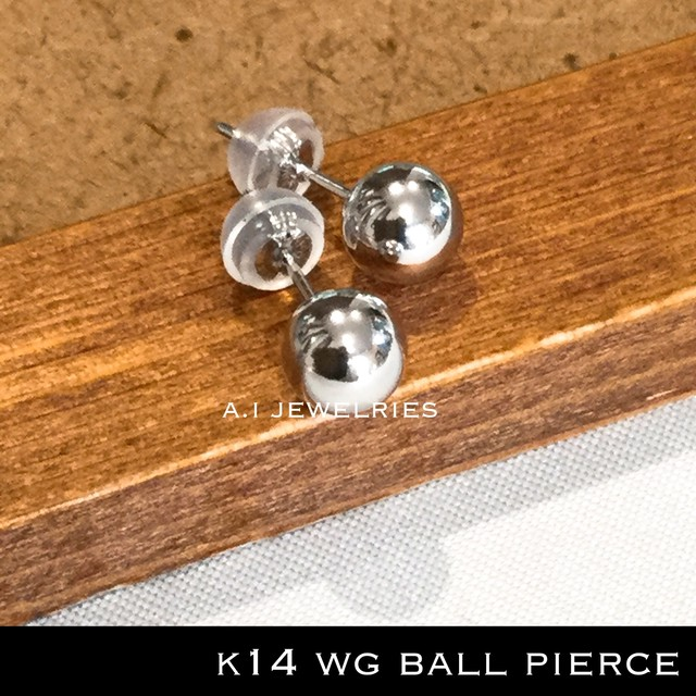 k14 14金 ホワイト ゴールド 6mm ボール ピアス