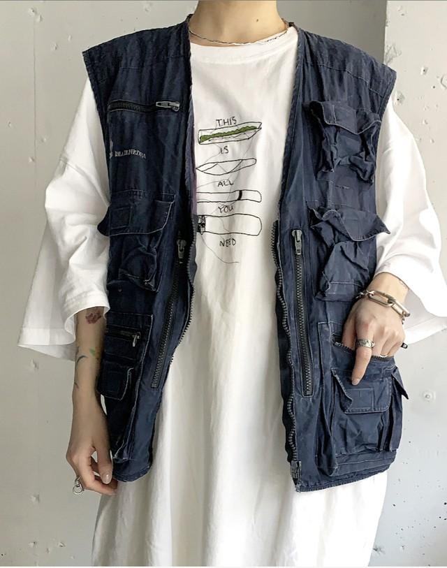 vintage fishing vest. / navy