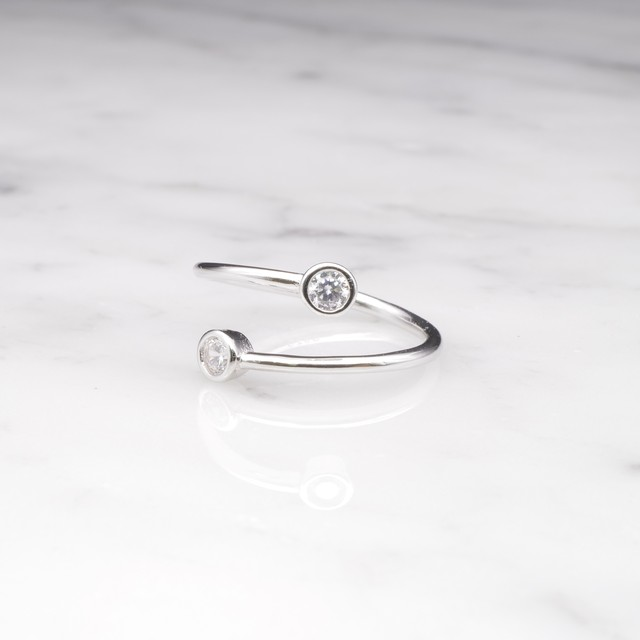 【RESTOCK】S925 DOUBLE CIRCLE ZICONIA RING SILVER