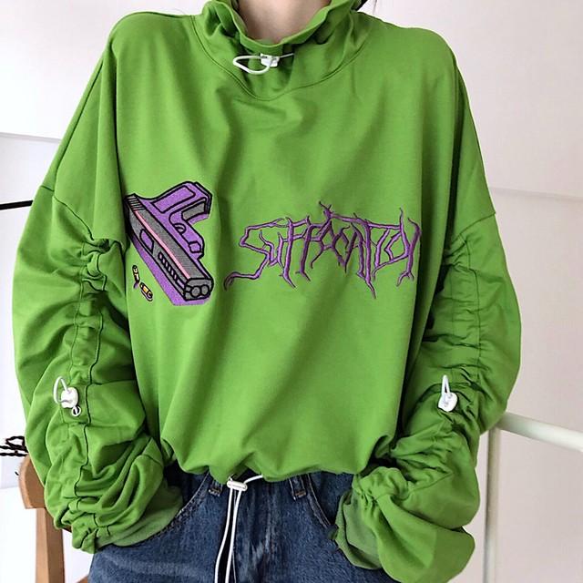 【tops】ファッションデザイン感長袖細見え刺繍アルファベットルーズパーカー