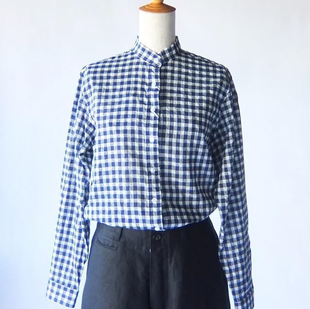 HAND ROOM WOMEN'S  - ギンガムチェック スタンドカラーシャツ - White × Navy