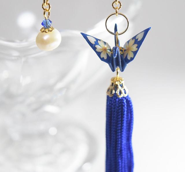 桜螺鈿折り鶴ターコイズブルー