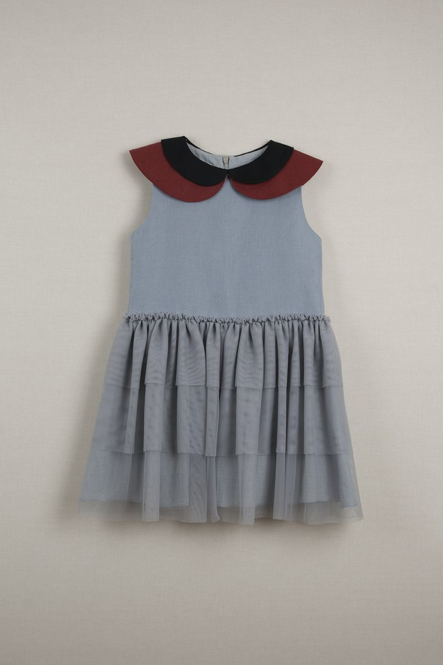【20SS】ポぺリン Popelin double frill dress ワンピース blue  [ 18-24m / 3-4y / 5y / 7y ]
