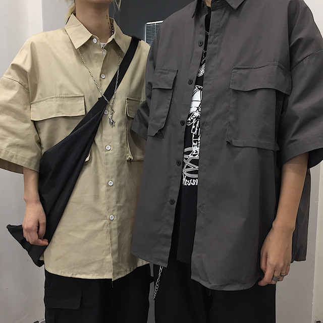 ユニセックス ワークシャツ ポケット 半袖 オーバーサイズ 韓国ファッション メンズ レディース シャツ ゆったり 大きめ ルーズ カジュアル ストリート ファッション TBN-615791813855