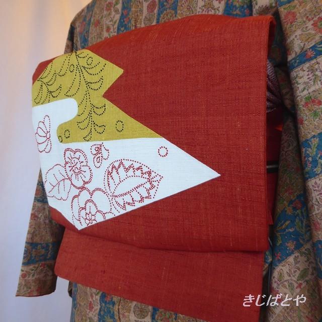 正絹紬 ベージュに織り模様のなごや