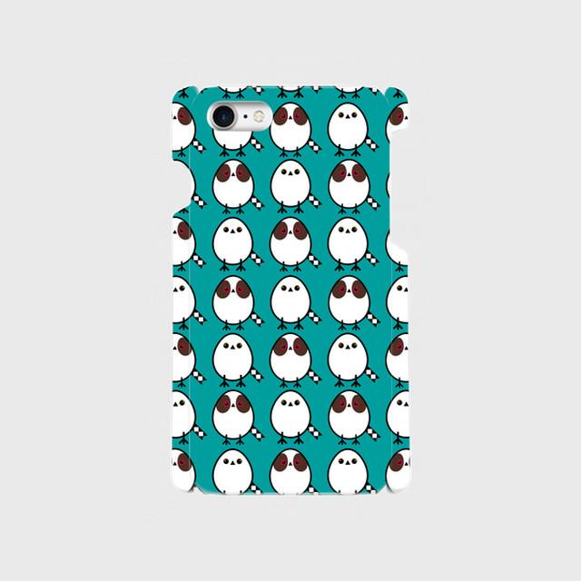 《癒やしの小鳥》シマエナガのオリジナルスマホケース(blue-green)【送料無料】