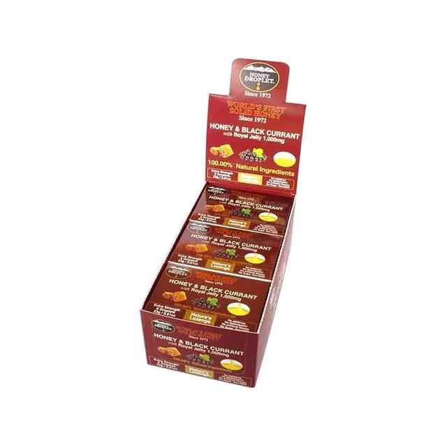 【12箱入り送料無料】ハニードロップレット ハニー&ブラックカラントwithローヤルゼリー1,000mg(のど飴) 1箱6粒入 x 12箱セット