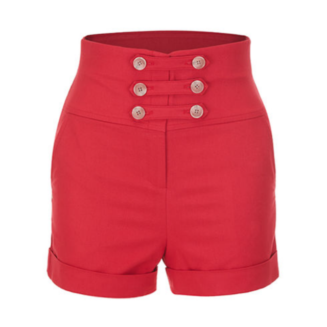 Double Buttons High Pants (Red)