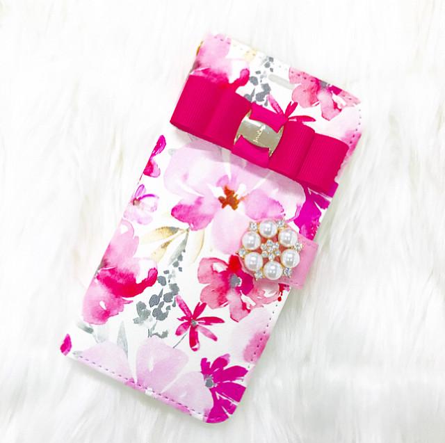 手帳型スマホケース 全機種対応 花柄 リボン付き