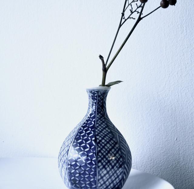 【一輪挿し】花瓶 青染付 日本伝統文様八種 flower vase 松瑞