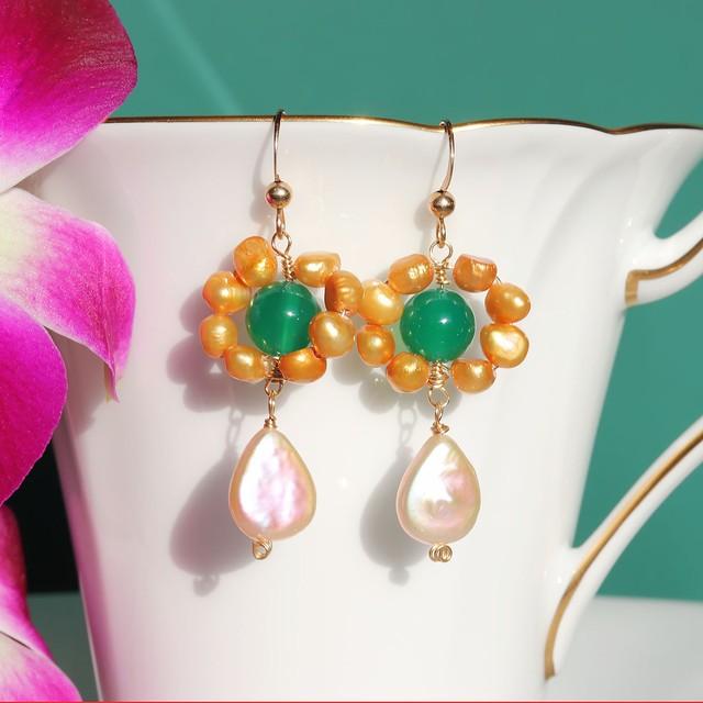 【 Pon de pearl 】K14gf ゴールド淡水パール&グリーンメノウ&ケシパールの天然石ピアス