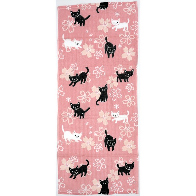 猫フェイスタオル(てぬぐいタオルのあねこ)桜猫ピンク