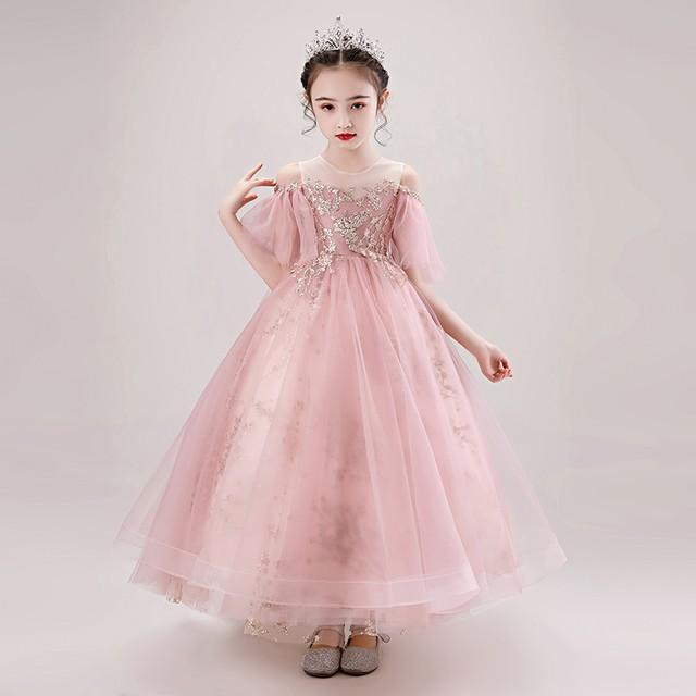子どもドレス 子供ドレス キッズドレス 子供服装 演出装 舞台装 女の子 子供ワンピース 110 120 130 140 150 160 プレゼント 誕生日 パーティー ラウンドネック アップリケ チュール ピンク スウィート