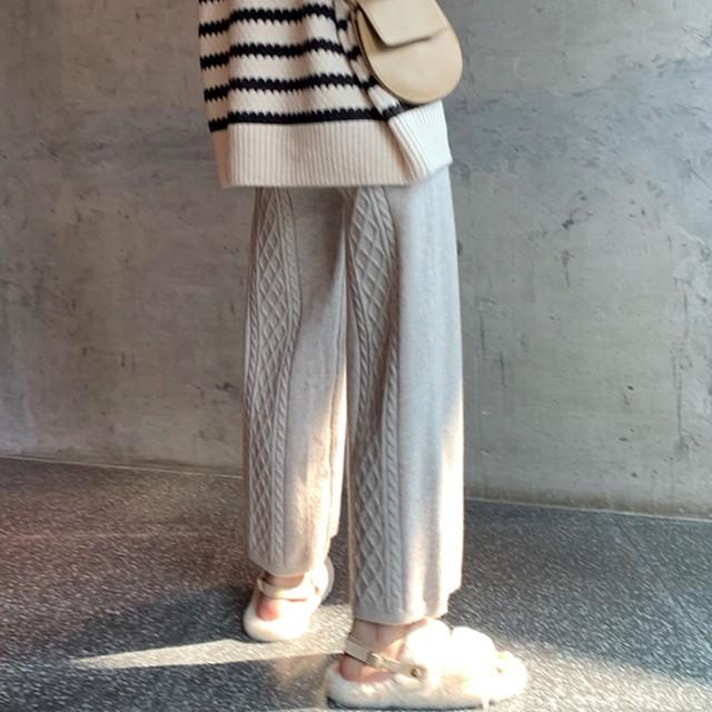 【送料無料】バックスタイルがおしゃれ ♡ 大人可愛い きれいめ ケーブル編み ニット ワイド パンツ ボトム