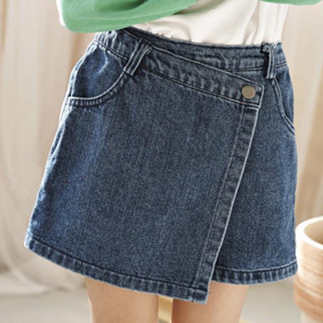 «即納» wrapped denim pants スカート見えするデニムパンツ