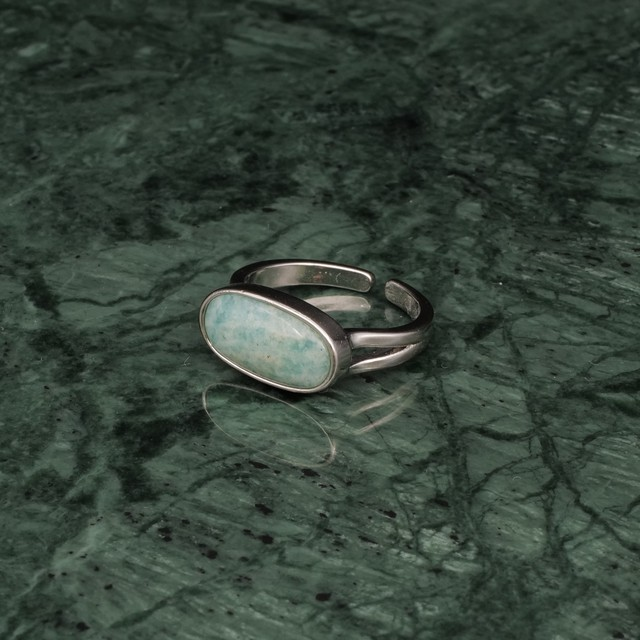 OVAL STONE RING SILVER 007