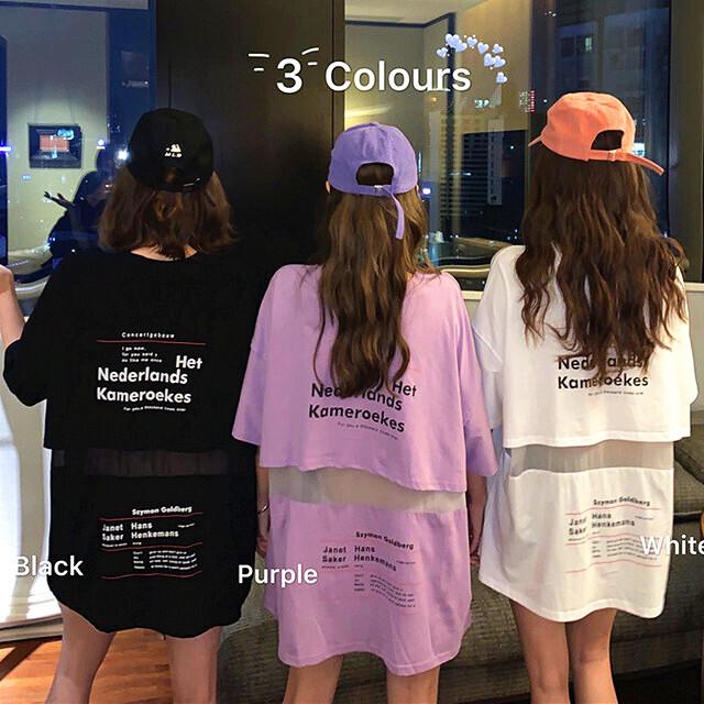 【トップス】絶対欲しい3色展開ファッション切り替えメッシュアルファベットTシャツ30775563