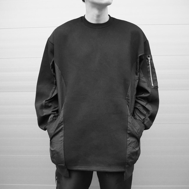 【UNISEX - 1 size】SWEAT NYLON PULLOVER / Black