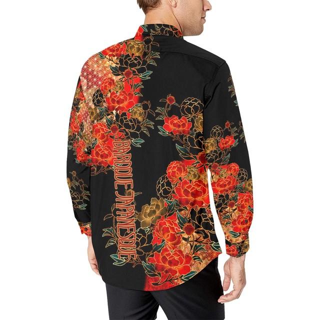 牡丹家紋 黒 メンズサイズ長袖シャツ
