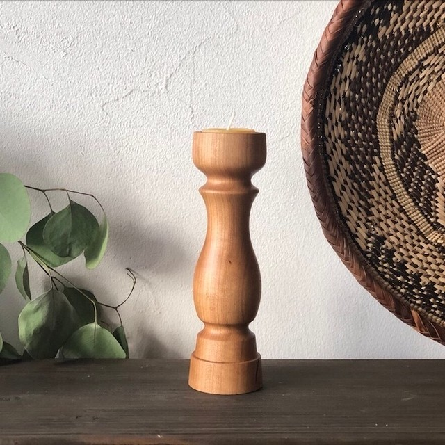 《ことのは木工舎のキャンドルホルダー No.23》チェリー/18cm(ティーライトキャンドル用)