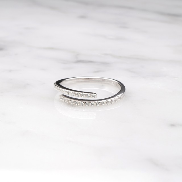 S925 LOW ZIRCONIA OPEN RING SILVER