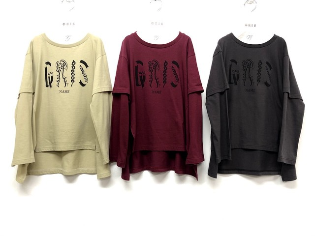 "GRIS 20AW Layered Print T-Shirts ""NAME"" Sサイズ(beige/ charcoal) [GR20AW-CU008A]メール便可"