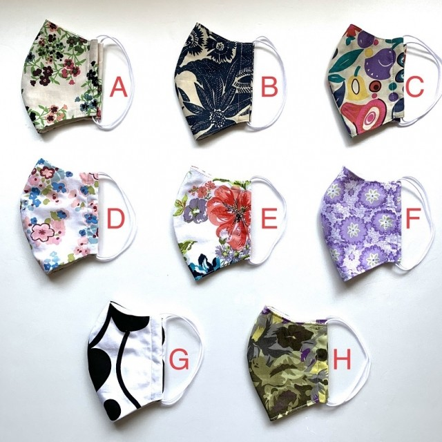 北欧デザイン 洗える布マスク(立体型・裏ダブルガーゼ)  | パターンA-H