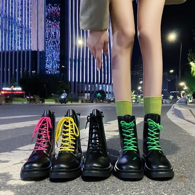 【シューズ】カジュアルブロックヒール編み上げ暖かい丸トゥショート丈ブーツ36976824