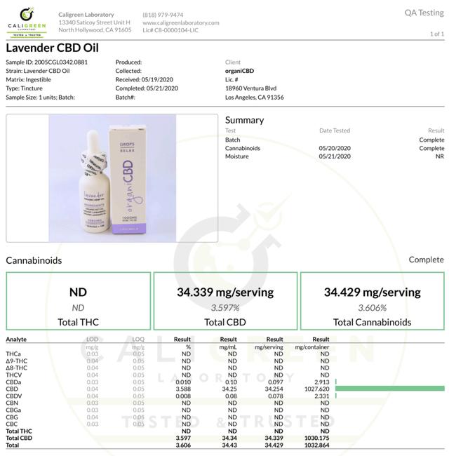 OrganiCBD CBDオイル ラベンダー CBD1000mg/30ml