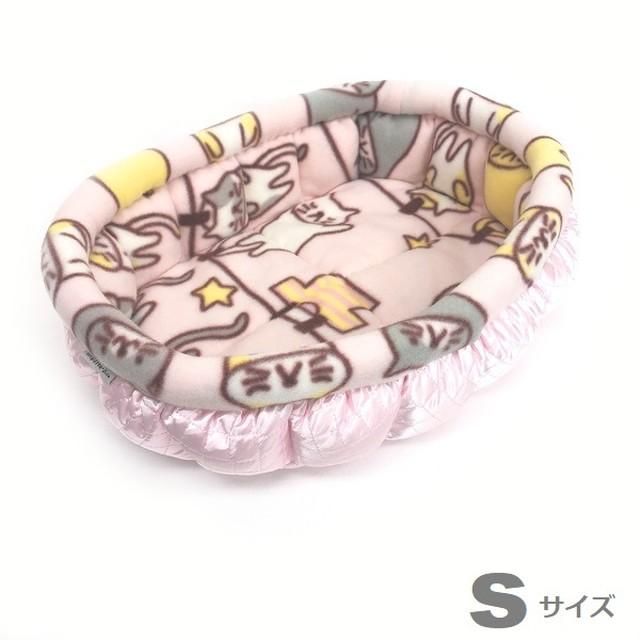ふーじこちゃんママ手作り ぽんぽんベッド(サテンライトピンク・フリース・ねこお洗濯柄) Sサイズ