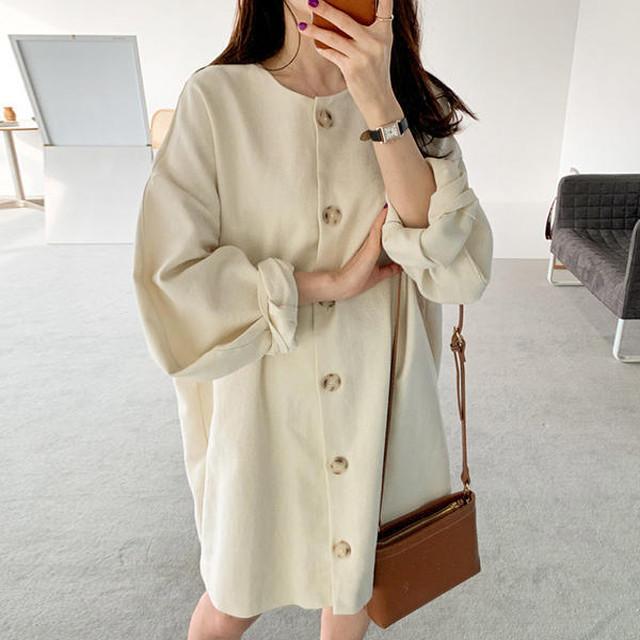 【韓国レディースファッション】 6149 シンプル ボリューム袖 シャツ ワンピース ラウンドネック ドロップショルダー 送料無料