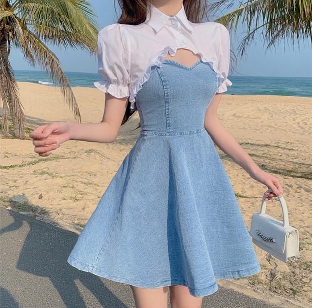 sexy denim dress set