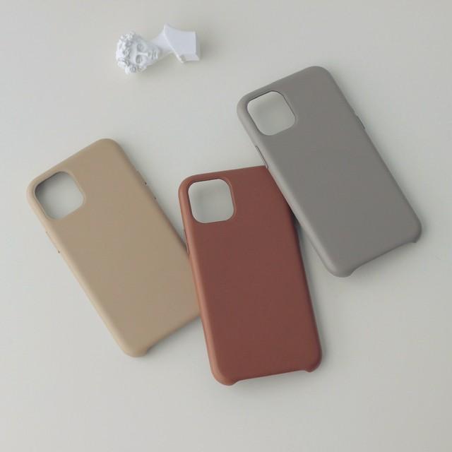 【iPhone12新機種対応!】冬支度 ラテ色のPUレザーiPhoneケース 無地 シンプル (全3色) *p00054