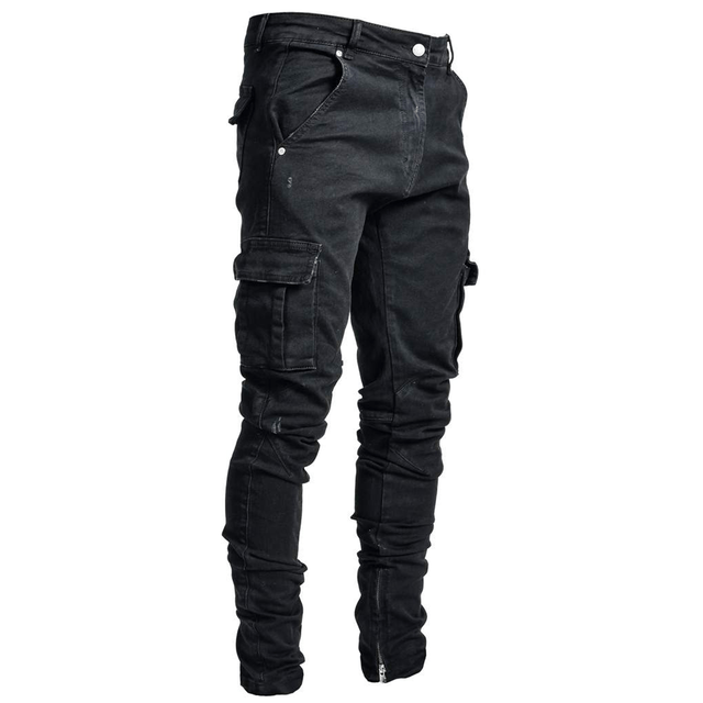 LAKENZIE BIKER PATCH DENIM - MID BLUE