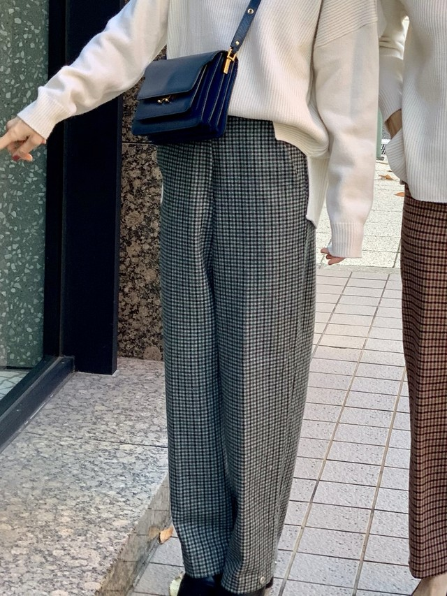 【50%OFF SALE】check straight pants / blue  (即納)
