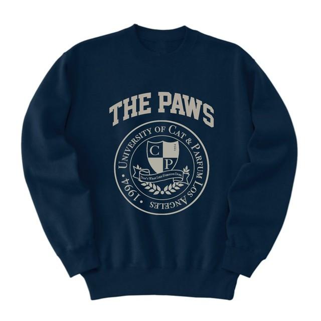 【Cat & Parfum】THE PAWS University Emblem Crew-Neck Sweat
