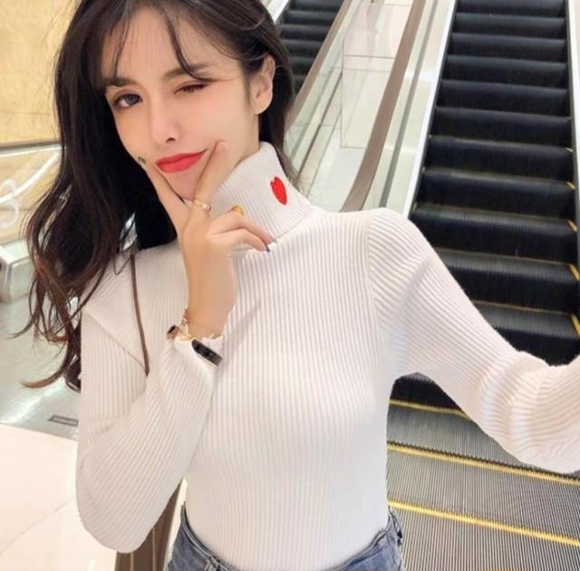 ハートリブトップス リブトップス 韓国ファッション